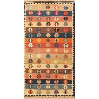 "Kilim Geometric Hand Woven Wool Persian Area Rug - 6'5"" x 3'6"""