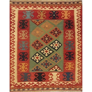 "Kilim Geometric Hand Woven Wool Persian Area Rug - 6'2"" x 5'1"""