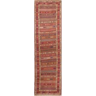 "Kilim Geometric Hand Woven Wool Persian Rug - 9'4"" x 2'8"" Runner"