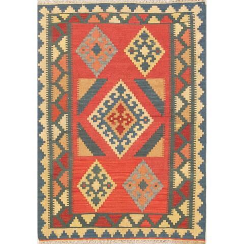 "Kilim Geometric Hand Woven Wool Persian Area Rug - 4'10"" x 3'6"""