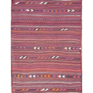 "Kilim Stripe Hand Woven Wool Persian Area Rug - 6'9"" x 5'2"""