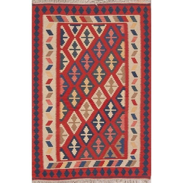 "Kilim Geometric Hand Woven Wool Persian Area Rug - 4'11"" x 3'5"""