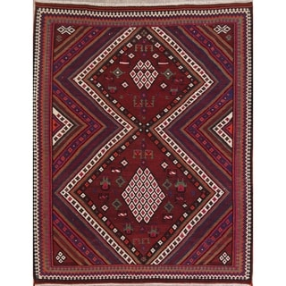 "Kilim Geometric Hand Woven Wool Persian Area Rug - 8'3"" x 6'5"""