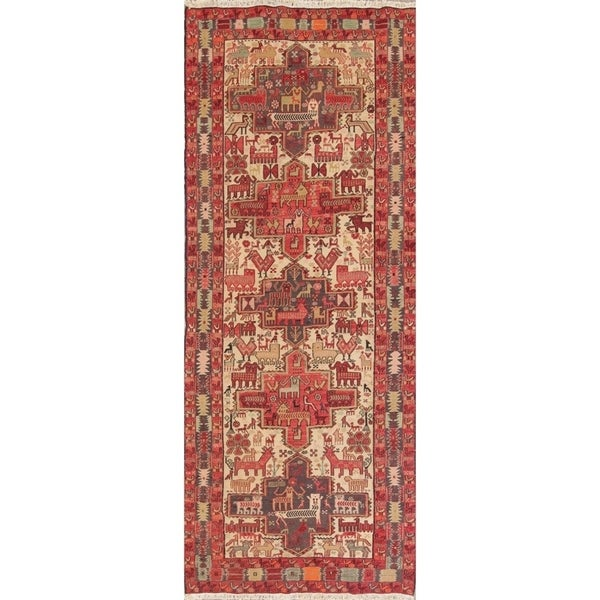 "Kilim Tribal Hand Woven Wool Persian Rug - 10'2"" x 3'11"" Runner"
