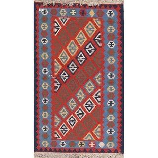 "Kilim Geometric Hand Woven Wool Persian Area Rug - 4'6"" x 2'9"""