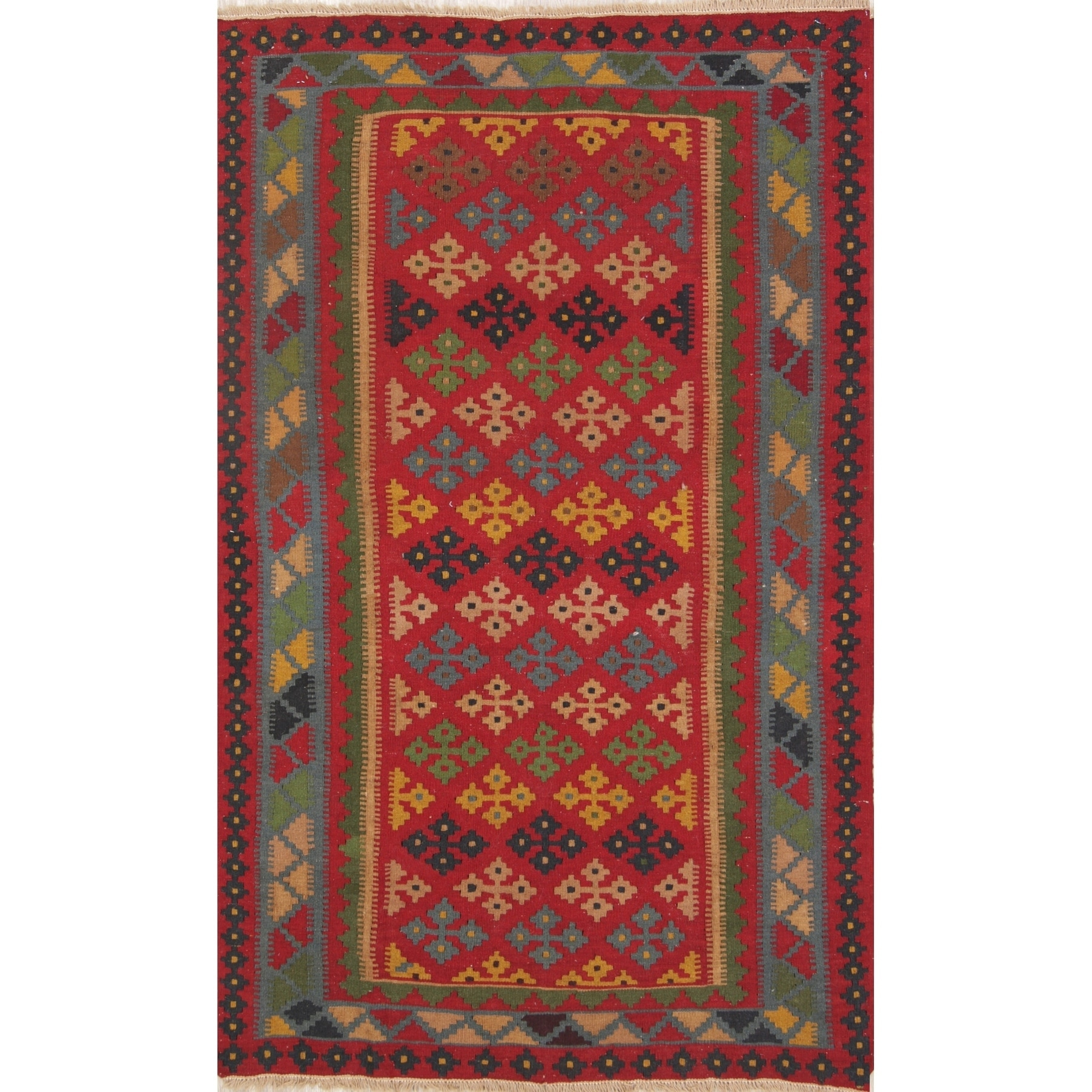 Kilim Geometric Hand Woven Wool Persian Area Rug 6 0 X 3 8 On Sale Overstock 27123006