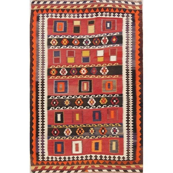 "Kilim Geometric Hand Woven Wool Persian Area Rug - 6'10"" x 4'7"""