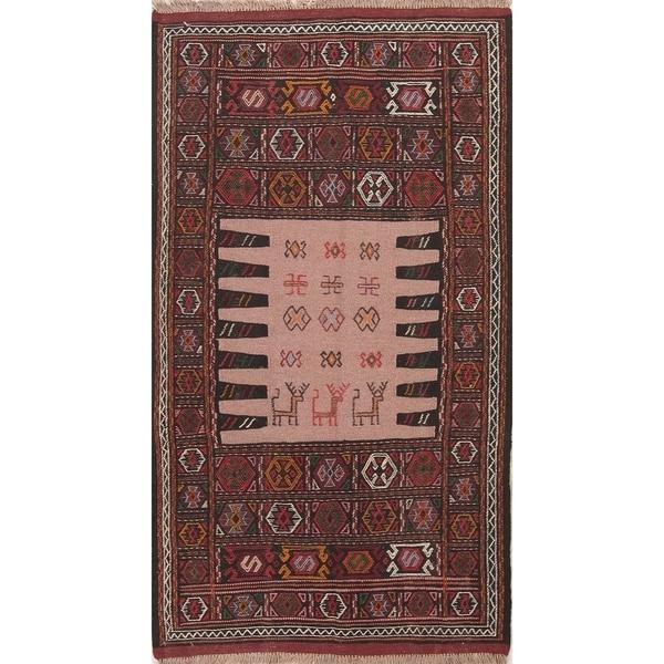 "Kilim Geometric Hand Woven Wool Persian Area Rug - 5'10"" x 3'4"""