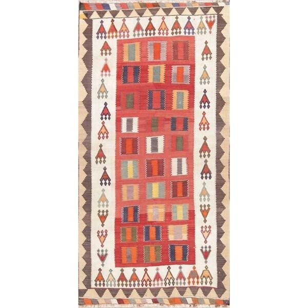 "Vintage Kilim Geometric Hand Woven Wool Persian Rug - 8'9"" x 4'5"" Runner"