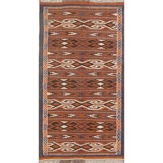 "Kilim Geometric Hand Woven Wool Persian Rug - 5'11"" x 3'2"" Runner"