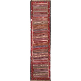 "Kilim Geometric Hand Woven Wool Persian Rug - 9'4"" x 2'5"" Runner"