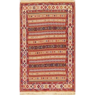 "Kilim Geometric Hand Woven Wool Persian Area Rug - 6'8"" x 4'1"""