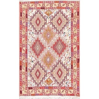 "Kilim Geometric Hand Woven Wool Persian Area Rug - 6'3"" x 4'0"""