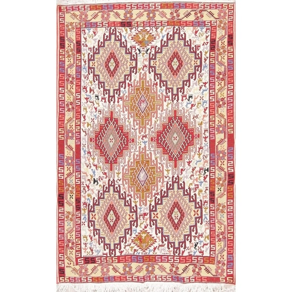 "Kilim Geometric Hand Woven Wool Persian Area Rug - 6'3"" x 4'0"""