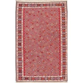 "Kilim Geometric Hand Woven Wool Persian Area Rug - 6'6"" x 4'3"""