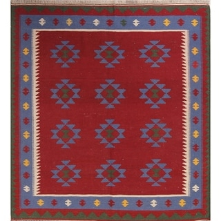 "Kilim Geometric Hand Woven Wool Persian Area Rug - 6'8"" x 5'5"""