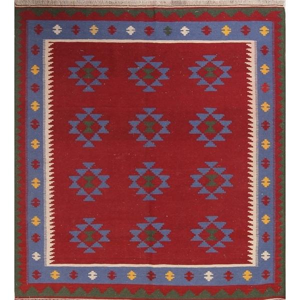 "Kilim Geometric Hand Woven Wool Persian Area Rug - 6'8"" x 5'5"""