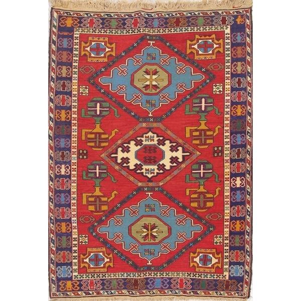 "Kilim Geometric Hand Woven Wool Persian Area Rug - 6'6"" x 4'9"""