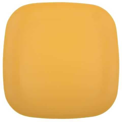 Melange 36-Piece Bamboo Dinner Plate Set (Squares Collection) Shatter-Proof and Chip-Resistant Bamboo Dinner Plates Yellow