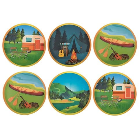 Melange 36-Piece Bamboo Dinner Plate Set (Campers Paradise) Shatter-Proof and Chip-Resistant Bamboo Dinner Plates