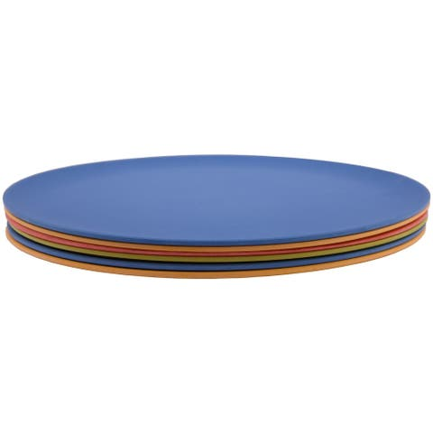 Melange 36-Piece Bamboo Dinner Plate Set (Rounds Collection) Shatter-Proof and Chip-Resistant Bamboo Dinner Plates Multicolor