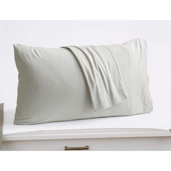 Soft Comfortable Great Bay Home Extra Soft Modal Jersey Knit Pillowcase Set Standard, White Cozy All-Season Pillowcases