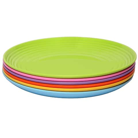 Melange 36-Piece Melamine Dinner Plate Set (Solids Collection ) Shatter-Proof Dinner Plates Multicolor