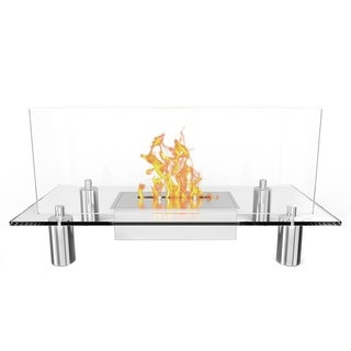 Regal Flame Delano Ventless Free Standing Ethanol Fireplace in Stainless Steel Finish