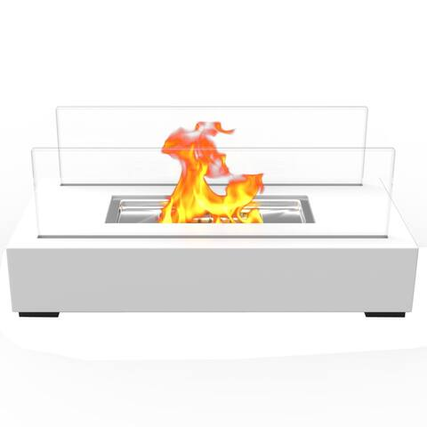 Regal Flame Utopia Ventless Tabletop Portable Bio Ethanol Fireplace in White