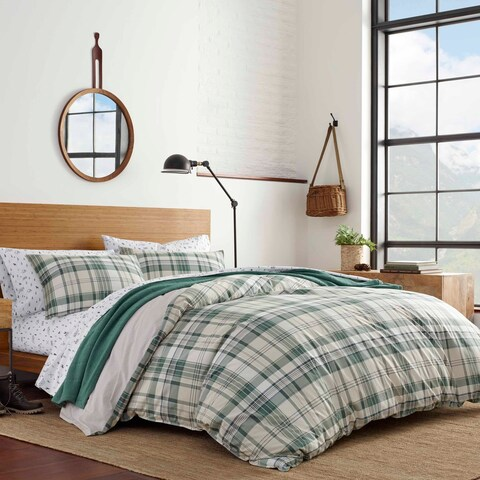 Eddie Bauer Timbers Plaid Green Duvet Cover Set