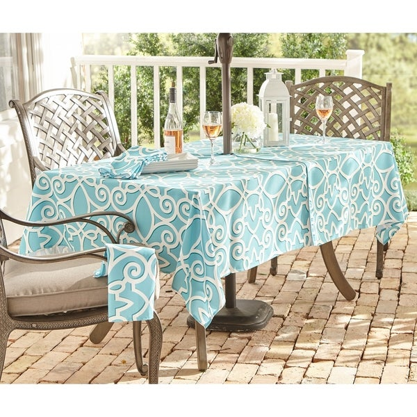 Chase Geometric Stain Resistant Indoor Outdoor Tablecloth