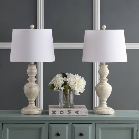 "Safavieh Lighting 28-inch Zabi White LED Table Lamp (Set of 2) - 14""x14""x27.5"""