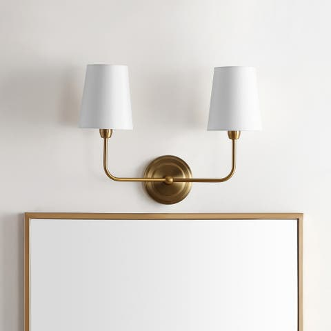 "Safavieh Lighting Ezra Two Light Wall Sconce - Brass - 17.5""x7""x13.5"""