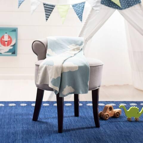 "SAFAVIEH Baby Collection Skye Throw - Blue / White - 32"" x 40"" - 32"" x 40"""
