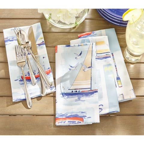 "Sail Away Stain Resistant Indoor Outdoor Napkin Set of 8 - 17""x17"""