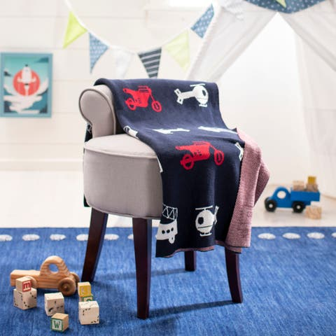 "Safavieh Baby Collection Wesley Throw - Navy / Red - 32"" x 40"""