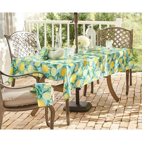 Lemon Grove Stain Resistant Indoor Outdoor Tablecloth