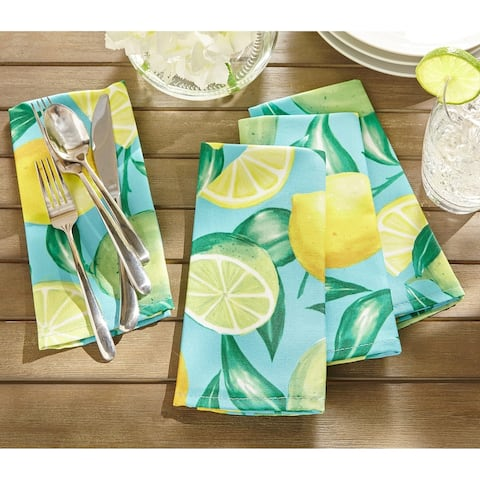 "Lemon Grove Stain Resistant Indoor Outdoor Napkin Set of 8 - 17""x17"""