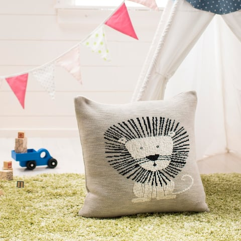 "Safavieh Baby Collection Dandy Lion Pillow - Grey / Black - 20 "" x 20"""