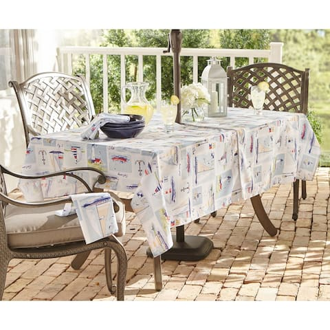 Sail Away Stain Resistant Indoor Outdoor Tablecloth