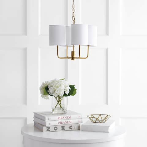 "Safavieh Lighting Elias Adjustable 4-light LED Brass Chandelier - 15.5"" x 15.5"" x 16.5-88.5"""