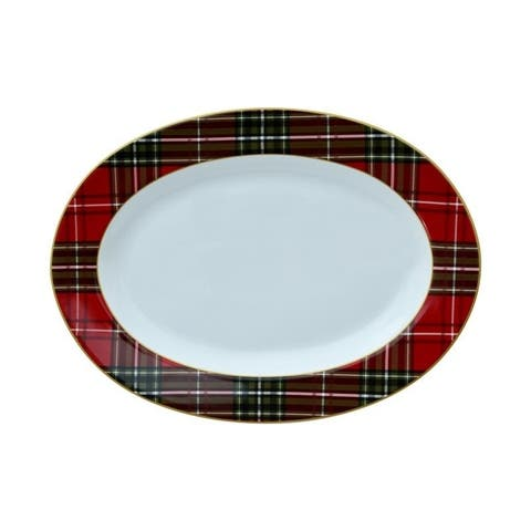 """222 Fifth Wexford Plaid Red 14"""" Oval Platter"""