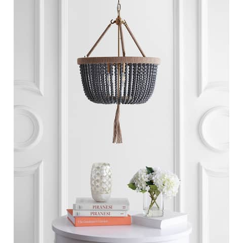 "Safavieh Lighting Adra Adjustable 3-light LED Grey Beaded Chandelier - 18.5""x18.5""x32-104"""