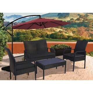Sonoma 4 Piece Wicker all-weather Conversation Set with Cushions & Coffee Table