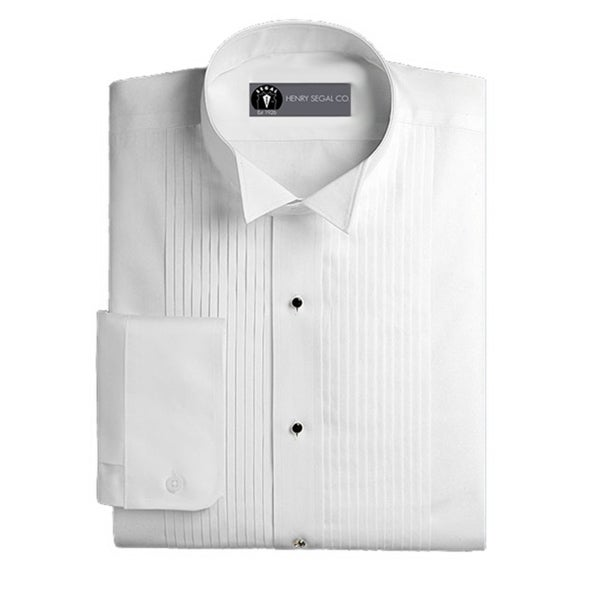 Henry Segal Mens Tuxedo Shirt Wing Collar 1/4 Inch Pleat
