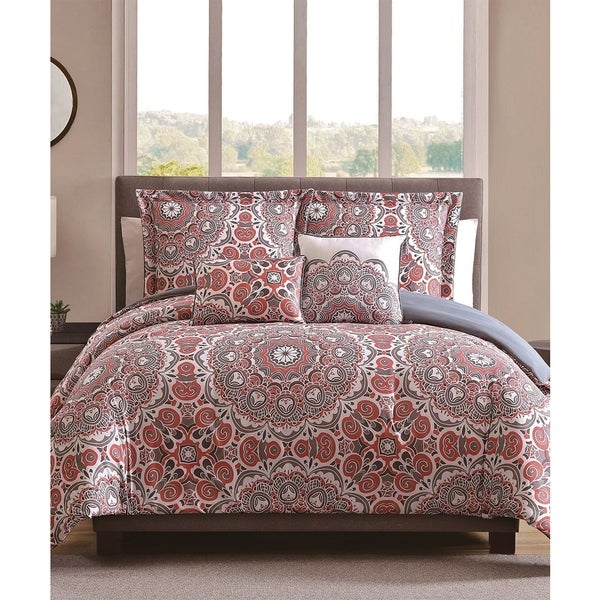 Shop Lynn Coral Grey 5pc Oversized Comforter Sets Free
