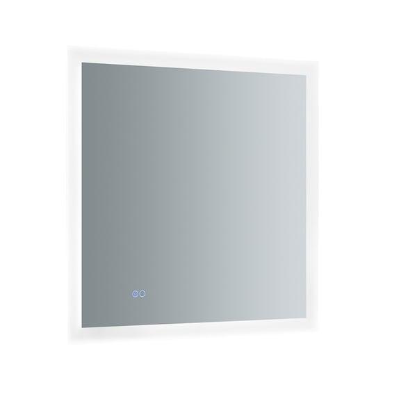 "Fresca Angelo 30"" Wide x 30"" Tall Bathroom Mirror w/ Halo Style LED Lighting and Defogger - Silver - A/N"