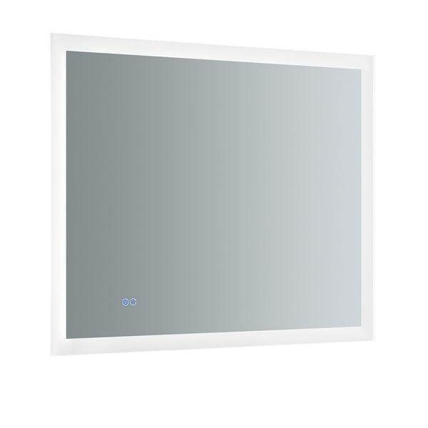 "Fresca Angelo 36"" Wide x 30"" Tall Bathroom Mirror w/ Halo Style LED Lighting and Defogger - Silver"