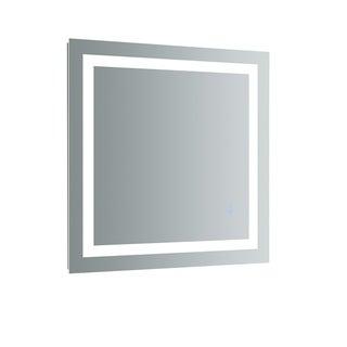 """Fresca Santo 30"""" Wide x 30"""" Tall Bathroom Mirror w/ LED Lighting and Defogger - Silver"""