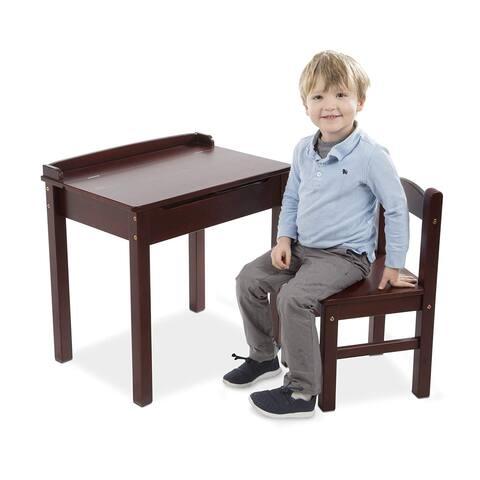 Wooden Lift-Top Desk & Chair - Espresso